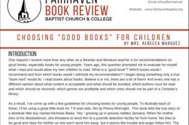 "Fairhaven Book Review – CHOOSING ""GOOD BOOKS"" FOR CHILDREN"